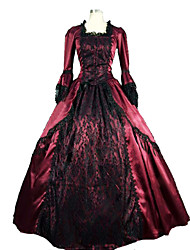 One-Piece/Dress Gothic Lolita Steampunk® Cosplay Lolita Dress Red Patchwork Long Sleeve Long Length Dress For Women Satin / Lace