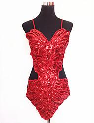 Clubwear Leotards Women's Performance Polyester / Organza Sequins 1 Piece Black / Blue /  Red