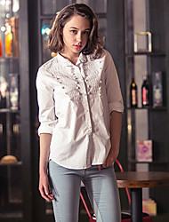 Women's Solid White Shirt , Vintage/Cute Shirt Collar Long Sleeve Embroidery