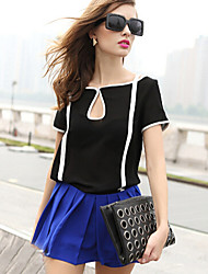 Women's Casual/Daily Simple / Street chic Summer Blouse,Patchwork Round Neck Short Sleeve White / Black Medium