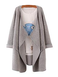 Damen Lang Strickjacke Solide Grau Hemdkragen Langarm Baumwolle Leinen Andere Herbst Mittel Mikro-elastisch