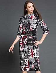 Mulheres Vestido Altura dos Joelhos Manga ¾ Colarinho Chinês Botão Mulheres