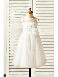 A-Line Tea Length Flower Girl Dress - Tulle Sleeveless Jewel Neck with Flower