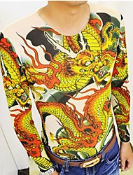 wansheng Men's Chinese Dragon Tattoo arm long sleeved T-shirt
