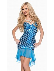 Women's Mermaid Solid Color Blue Dresses , Party Mid Rise Sleeveless