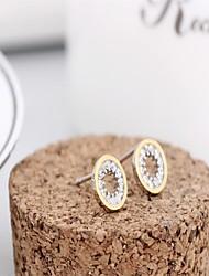 Fine jewelry korean tv drama double sided earrings rose gold 3a cz stud earrings silver earings 925 women