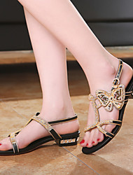 Women's Shoes Leather Low Heel Peep Toe/Novelty Sandals Wedding/Party & Evening/Casual Black/Gold
