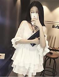 Women's Solid White / Black Dress , Casual Asymmetrical ½ Length Sleeve