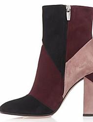 Красный - Женская обувь - Для офиса / Для праздника / На каждый день - Флис - На толстом каблуке - Ботинки - Ботинки