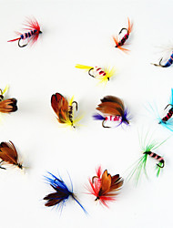 12 pcs Fliegen / Angelköder Fliegen Verschiedene Farben 1 g/<1/18 Unze mm Zoll,Metall Fliegenfischen