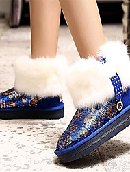 Women's Shoes AmiGirl New Fashion Platform Leahter Snow Boots Outdoor/Casual Black/Royal Blue/Fuchsia