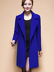 Women's Solid / Patchwork Blue / Black / Yellow Coat , Vintage / Casual / Party / Work Long Sleeve Wool Blends