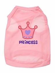 Gatos / Cães Camiseta Púrpura / Rosa Roupas para Cães Verão / Primavera/Outono Tiaras e Coroas Da Moda