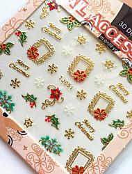 3D Gilding Christmas Sloganeer Nail Art Stickers