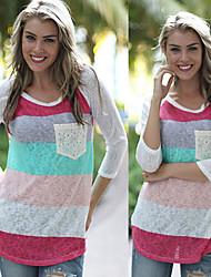 Sexy / Informeel Rond - VROUWEN - T-shirts ( Polyester )met Lange Mouw