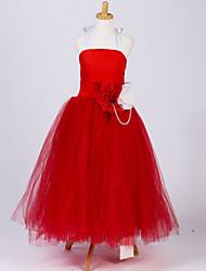 Ball Gown Tea-length Flower Girl Dress - Polyester Sleeveless