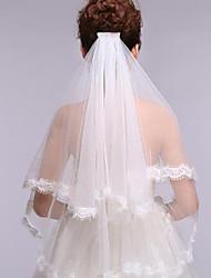 Bridal Wedding Veil Two-tier Fingertip Veils Vintages Lace Applique Edge With Comb