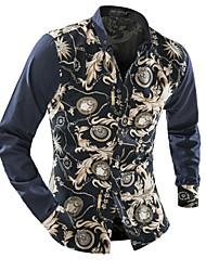 Super men Men's Shirt Collar Casual Shirts , Cotton Blend Long Sleeve Casual / Work Fashion Winter / Fall Super men