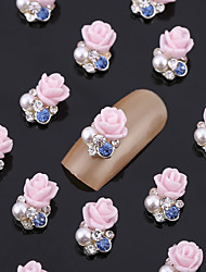 New 20PCS Nail Art Jewelry Pinkie Rose Nail Decorations Alloy Blue Rhinestone Aryclic Nails Nail Tips Decorations