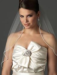 White / Ivory Bride Wedding Veil One-tier Elbow Veils Cut Rhinestone Edge+Comb