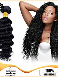 3pcs Brazilian Hair Bundles Weaves Jet Black Deep Wave Human Hair Weaves 100% Unprocessed Brazilian Human Hair Weft