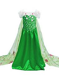 Costumes de Cosplay / Costume de Soirée Princesse / Déguisements Thème Film/TV Fête / Célébration Déguisement Halloween Vert Imprimé Robe