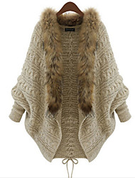 h-sweater Women's Patchwork Beige Coats & Jackets , Casual Stand Long Sleeve