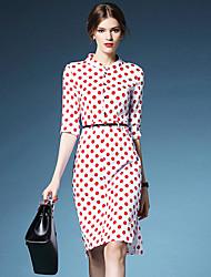 Women's Polka Dot Red  Black Dress  Vintage Work Stand  Sleeve