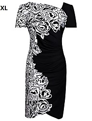 blanc / rouge, plus la taille robe des femmes, manches courtes imprimé floral gatered conception