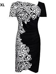 vrouwen wit / rood plus size kleding, met korte mouwen bloemenprint gatered ontwerp
