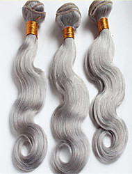 3Pcs/Lot Unprocessed Brazilian Virgin Hair Weft Silver Grey Brazilian Body Wave Human Hair Extension Weave 8-34""