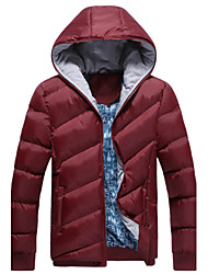 Men's Stand Coats & Jackets , Cotton / Cotton Blend Long Sleeve Casual Pocket Winter L-WARM