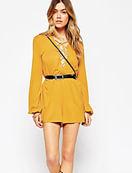 DUO.L Women's Solid White / Yellow Dresses , Sexy / Casual / Work Round Long Sleeve