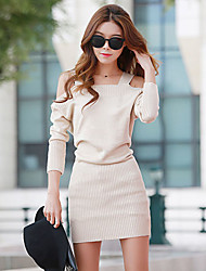 Women's Casual Long Sleeve Dress , Others Thick