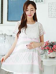 Vestido de maternidad Mini Raso / Encaje - Escote Redondo Manga Corta