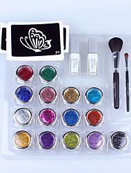 1 комплект алмазов бодиарт комплект с 15 цветов порошка и трафареты для временной татуировки блеск