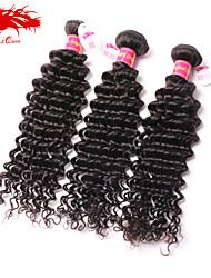 Ali Queen hair products 6A Brazilian Virgin Hair Deep wave Natural Black Human Remy Weaves Hair 3pcs/Lot Free Shipping