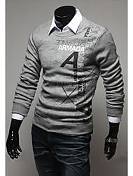 Men's Round Sweaters , Cotton Blend Long Sleeve Casual Hollow Out All Seasons HI MAN