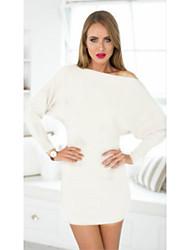 Sexy / Informell Schulterfrei / Ein-Schulter - Langarm - FRAUEN - Kleider ( Baumwolle / Baumwoll Mischung )