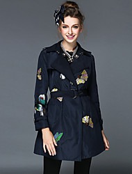 Women's Luxury Vintage Embroidery Loose Casual/Party/Work Long Sleeve Jacket Trench Coat