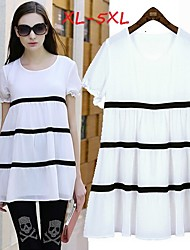 Women's Striped White Plus Size  Dresses , Casual/Cute Round Short Sleeve
