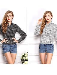 CEN     Women's Polka Dot Black Casual Shirts , Casual Shirt Collar Long Sleeve