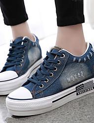 FemininoConforto / Arrendondado / Bico Fechado-Anabela-Azul-Jeans-Ar-Livre / Casual