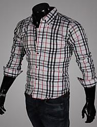 Men's Striped / Plaids Casual / Work / Formal / Sport / Plus Sizes Shirt,Cotton Blend Long Sleeve Black / White