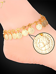 U7® Women's 18K Real Gold/Platinum Plated Cute Queen Coins Charms Adjustable Fancy Ankle Chain Bracelets Anklets
