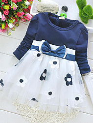 Girl's Korean Plum Blossom Flower Print Spring and Autumn Kids Clothes Dresses