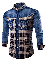 Men's Casual/DailyPlaid Long Sleeve Cotton Polyester