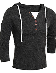 Herren Standard Pullover-Lässig/Alltäglich Einfach Einfarbig Rot Beige Grau Mit Kapuze Langarm Wolle Frühling Herbst Mittel