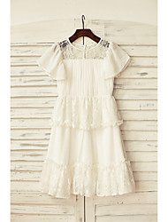 A-line Knee-length Flower Girl Dress - Chiffon / Lace Short Sleeve