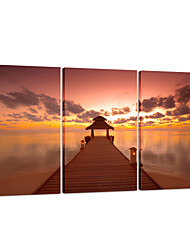 visuelle star®sea coucher de soleil toile tendue impression 3 pannel pont mur art prêt à accrocher